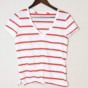 Madwell Red and Shite Strip Short Sleeve Tee XXS